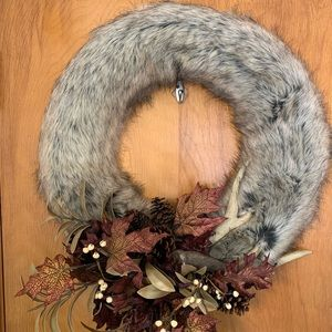 Faux Fur and Antler Wreath